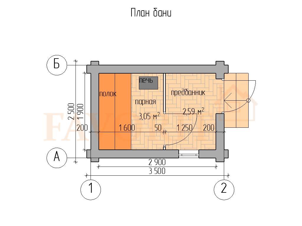 Планировка бани 2,5х3,5 из оцилиндрованного бревна