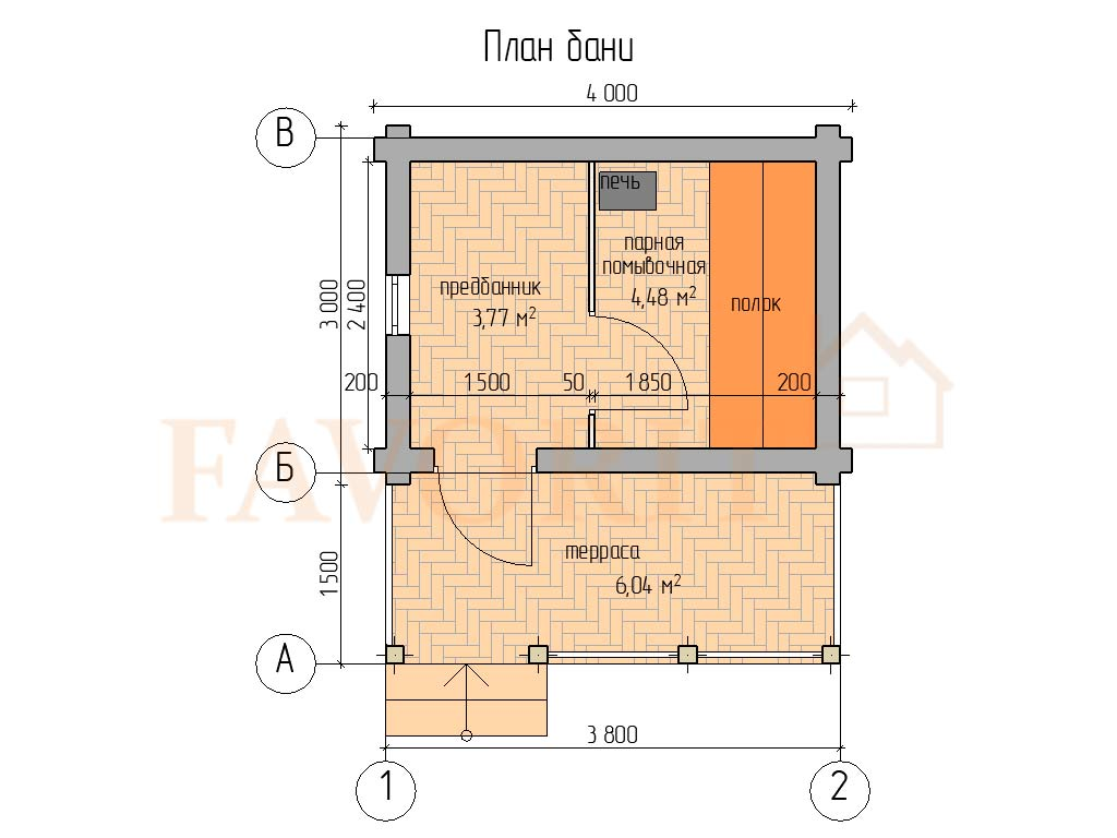 Планировка бани 3х4 из оцилиндрованного бревна с террасой 1,5х4