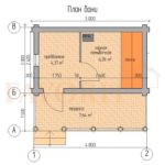 Планировка бани 3х5 из оцилиндрованного бревна с террасой 1,5х5