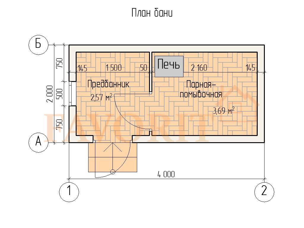 Планировка бани 2х4 из профилированного бруса