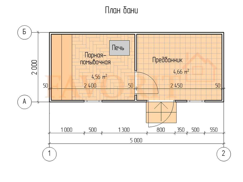 Планировка каркасной бани 2х5