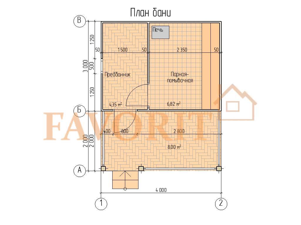 Планировка каркасной бани 3х4 с террасой 2х4