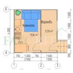 Планировка каркасного дома 2,5х4 с верандой 1,5х4