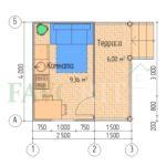 Планировка каркасного дома 2,5х4 с террасой 1,5х4