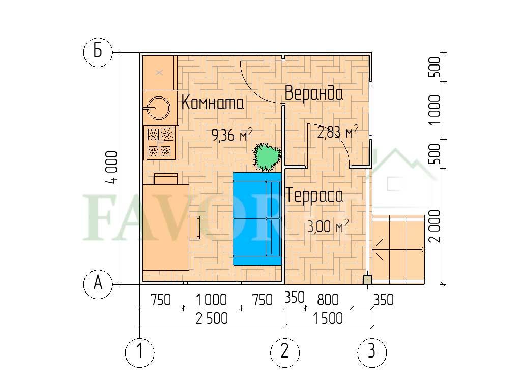 Планировка каркасного дома 2,5х4 с террасой и верандой 1,5х2