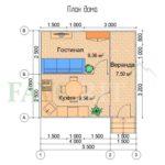 Планировка каркасного дома 4х5 с верандой 1,5х5