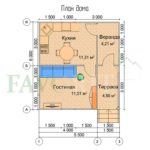 Планировка каркасного дома 4х6 с террасой и верандой 1,5х3