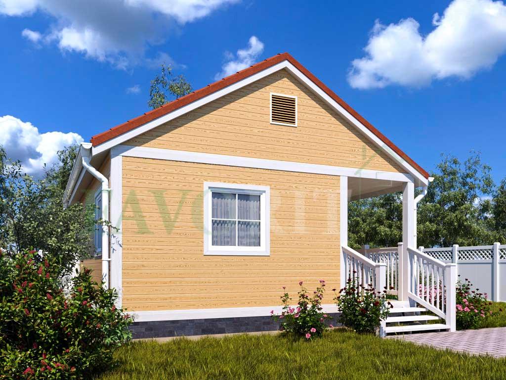 Каркасный дом 4х6 с террасой и верандой 1,5х3 – фото 2