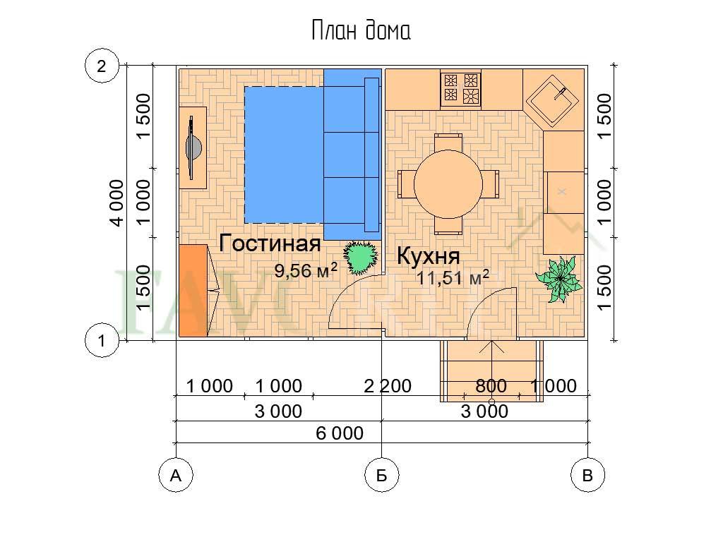 Планировка каркасного дома 4х6