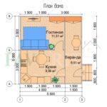 Планировка каркасного дома 4х6 с верандой 1,5х6