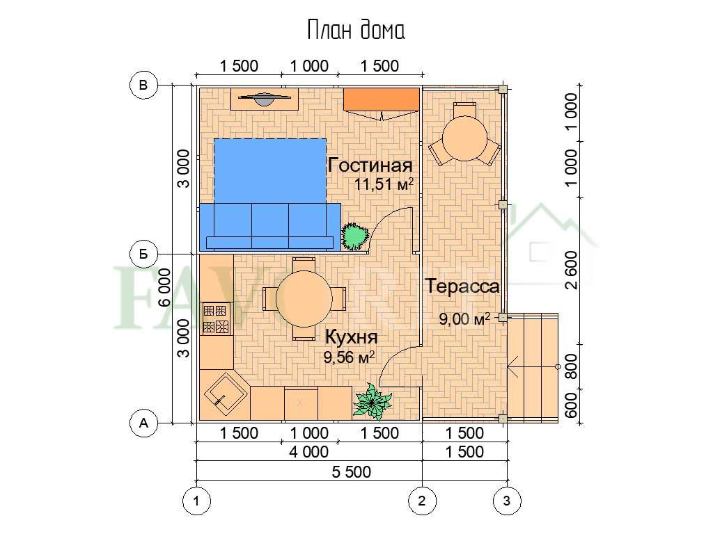 Планировка каркасного дома 4х6 с террасой 1,5х6