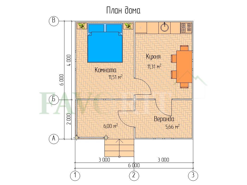 Планировка каркасного дома 4х6 с террасой и верандой 2х3