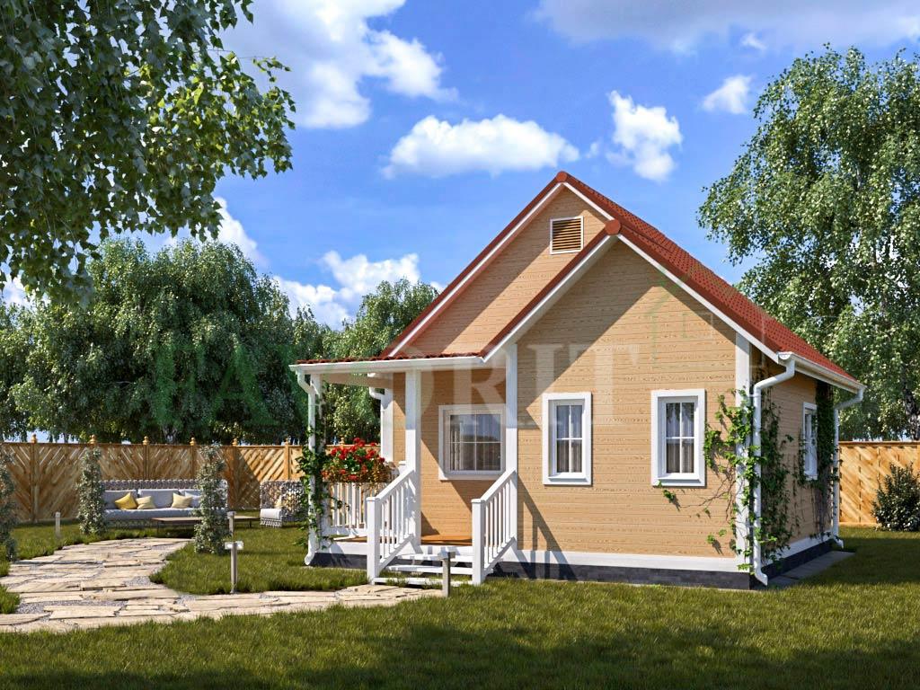 Каркасный дом 4х6 с террасой и верандой 2х3 – фото 2