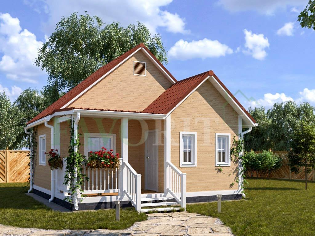 Каркасный дом 4х6 с террасой и верандой 2х3 – фото 1