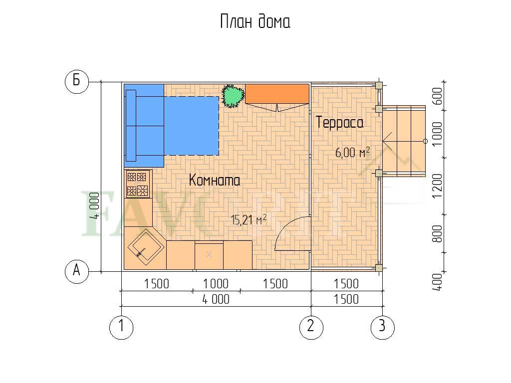 Планировка каркасного дома 4х4 с террасой 1,5х4