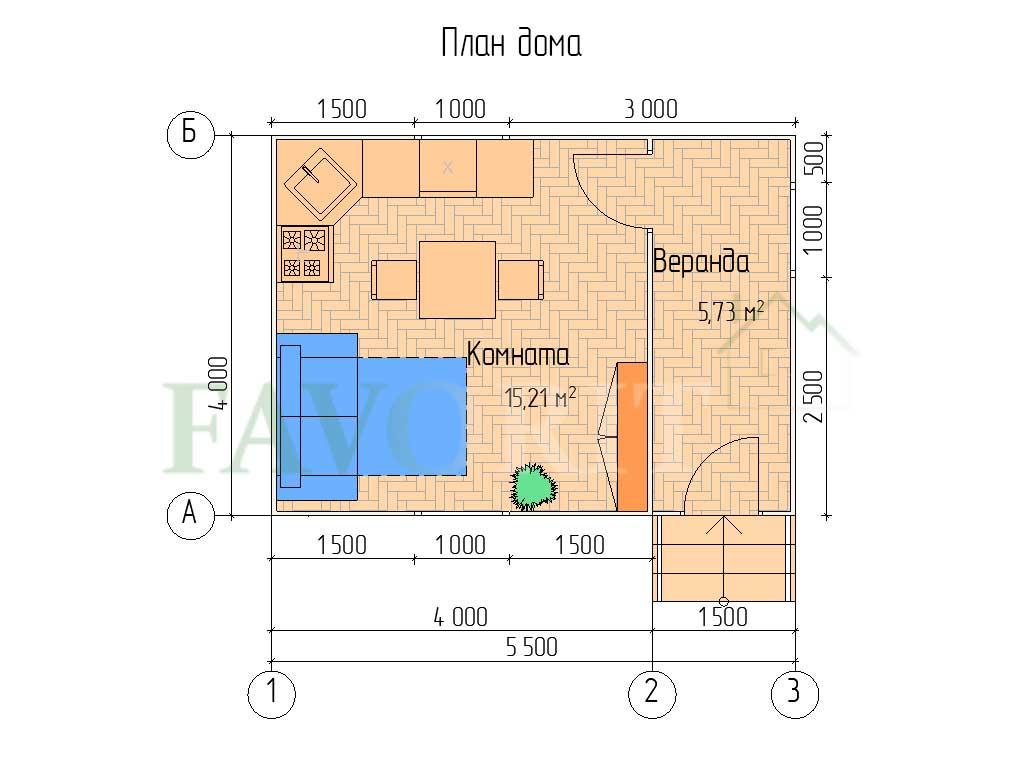 Планировка каркасного дома 4х4 с верандой 1,5х4