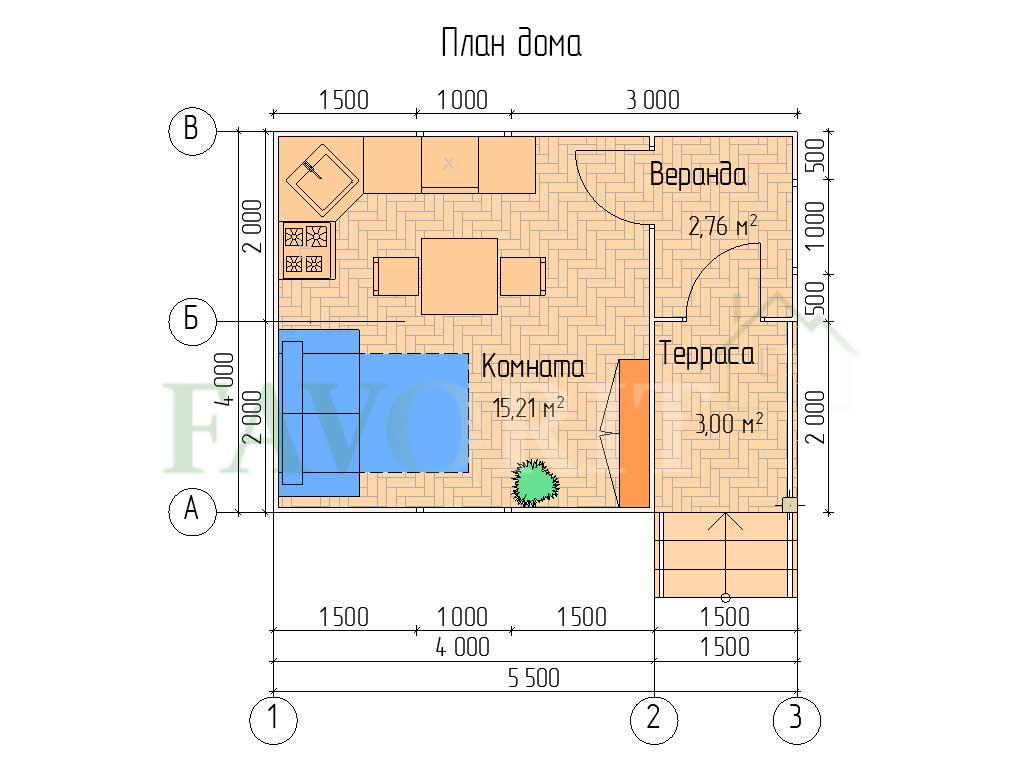 Планировка каркасного дома 4х4 с террасой и верандой 1,5х2