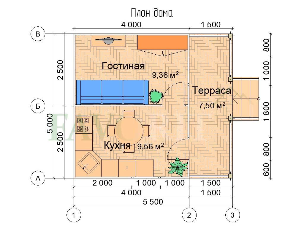 Планировка каркасного дома 4х5 с террасой 1,5х5