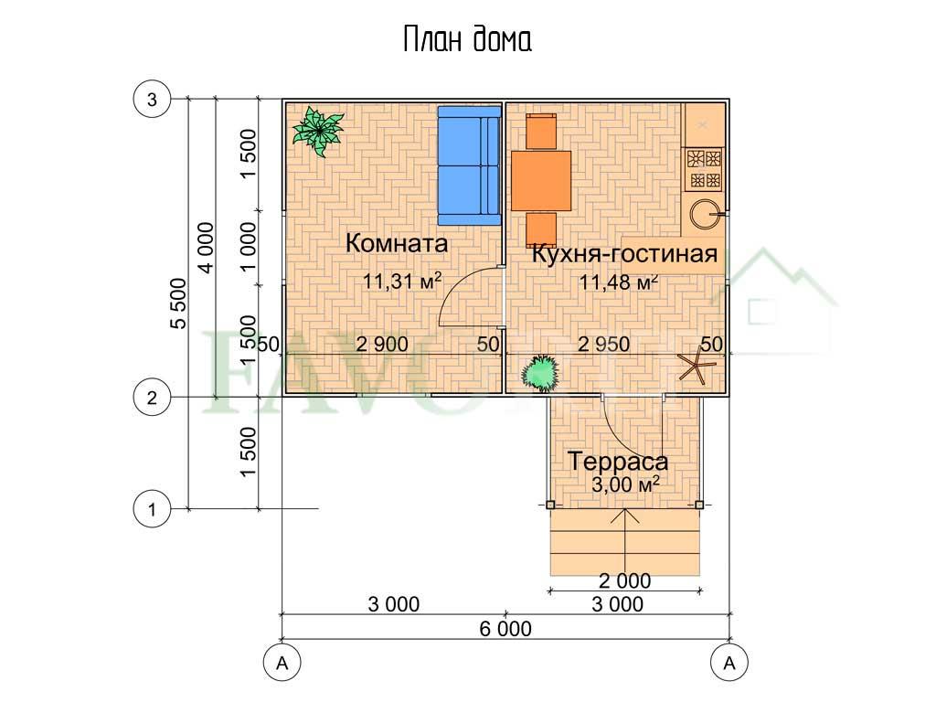 Планировка каркасного дома 4х6 с террасой 1,5х2