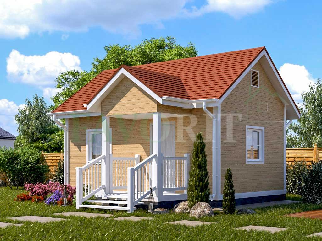 Каркасный дом 4х6 с террасой 1,5х2 – фото 1