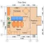 Планировка каркасного дома 5х6 с террасой 1,5х6