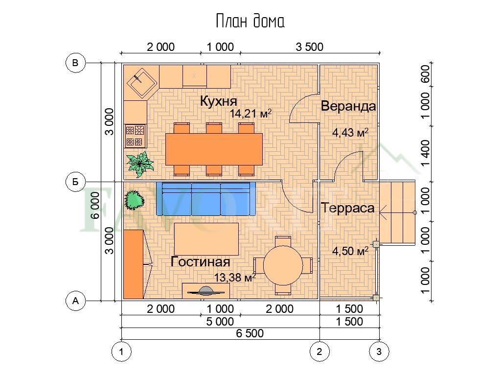Планировка каркасного дома 5х6 с террасой и верандой 1,5х3