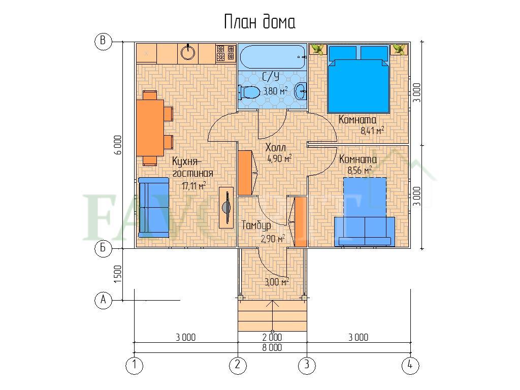 Планировка каркасного дома 6х8 с террасой 1,5х2