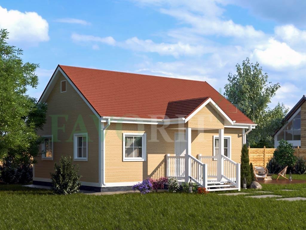 Каркасный дом 6х8 с террасой 1,5х2 – фото 1