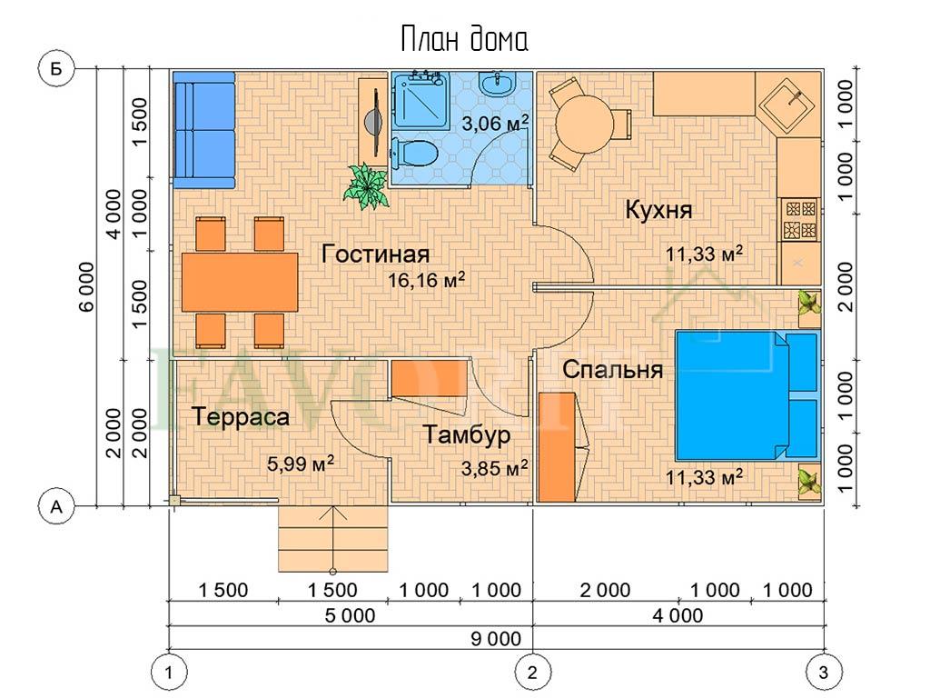 Планировка каркасного дома 6х9 с террасой 2х3