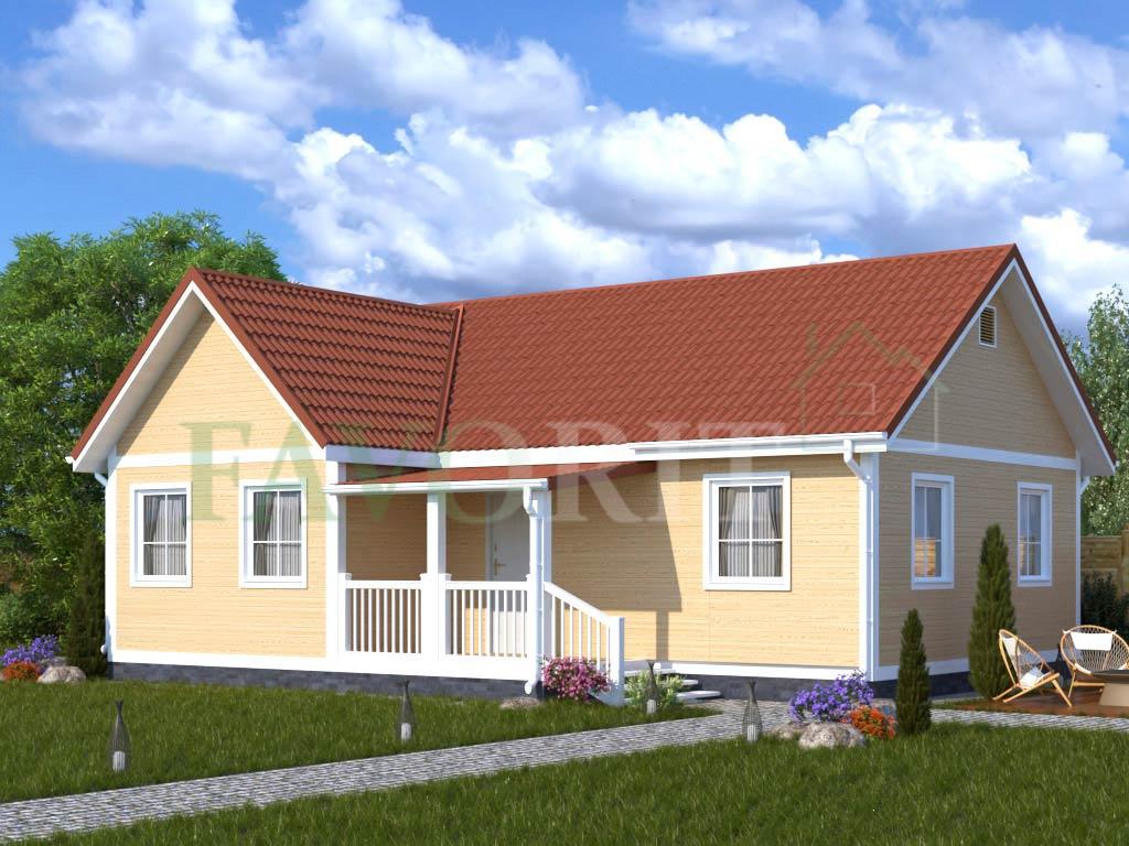 Каркасный дом 8х10 с террасой 2х3 – фото 1