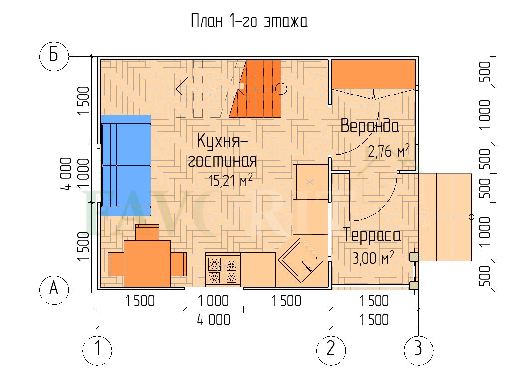 Планировка 1 этажа каркасного дома 4х4 с террасой и верандой 1,5х2