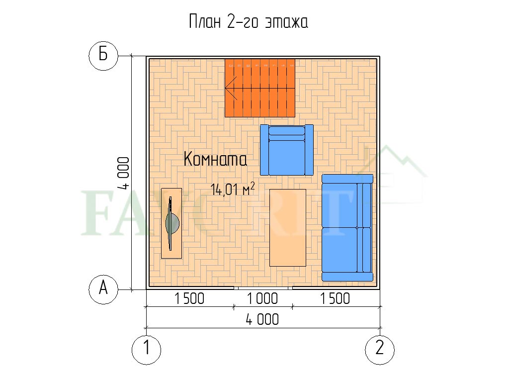 Планировка 2 этажа каркасного дома 4х4 с террасой и верандой 1,5х2