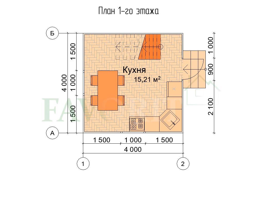 Планировка 1 этажа каркасного дома 4х4