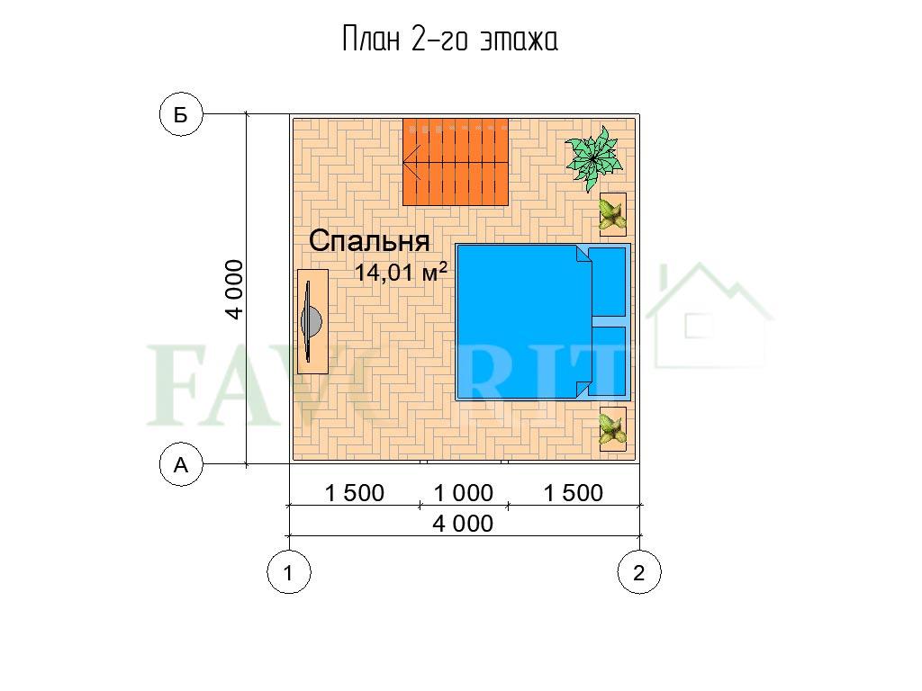 Планировка 2 этажа каркасного дома 4х4