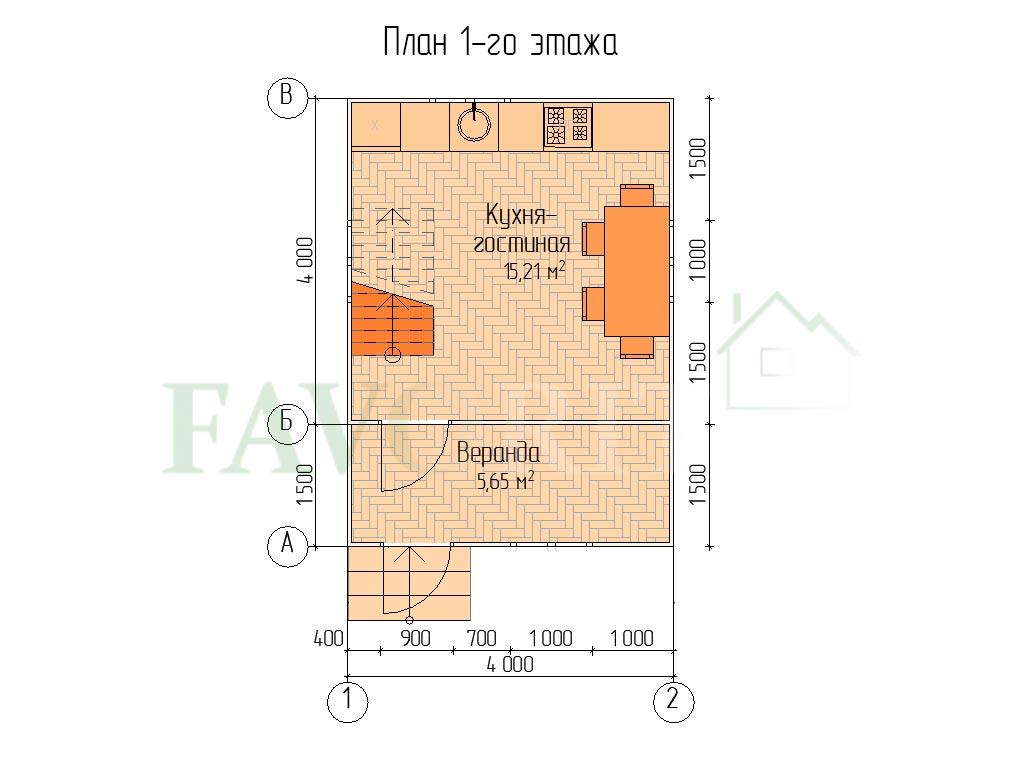 Планировка 1 этажа каркасного дома 4х4 с верандой 1,5х4