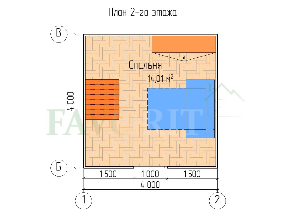 Планировка 2 этажа каркасного дома 4х4 с верандой 1,5х4