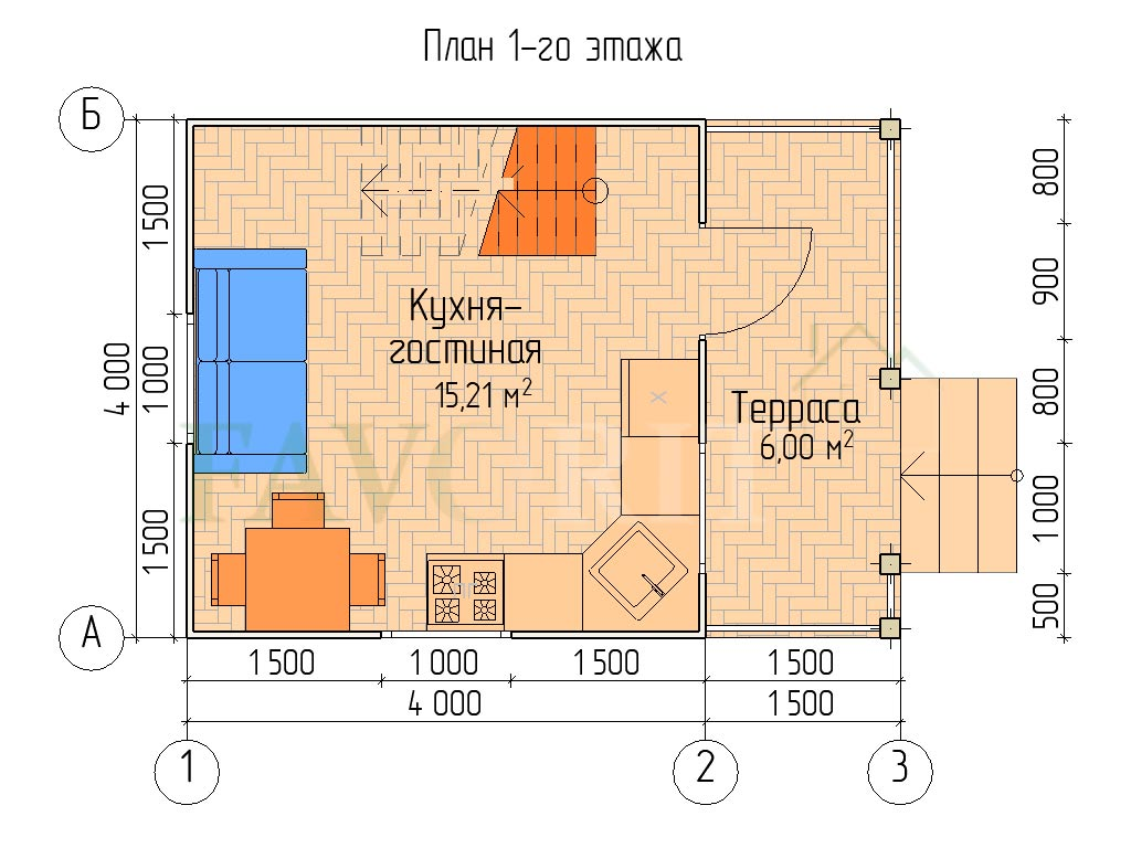 Планировка 1 этажа каркасного дома 4х4 с террасой 1,5х4