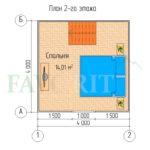 Планировка 2 этажа каркасного дома 4х4 с террасой 1,5х4