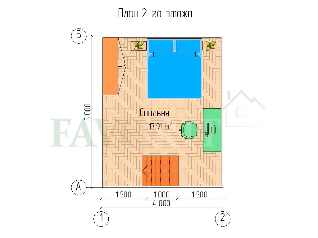 Планировка 2 этажа каркасного дома 4х5