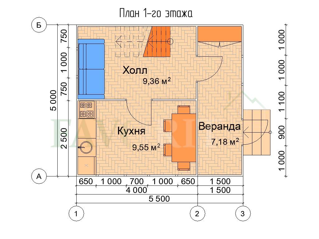 Планировка 1 этажа каркасного дома 4х5 с верандой 1,5х5