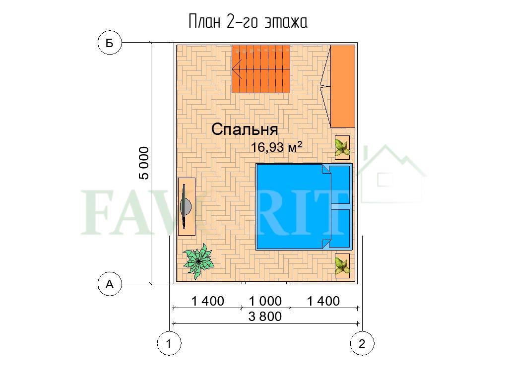 Планировка 2 этажа каркасного дома 4х5 с верандой 1,5х5