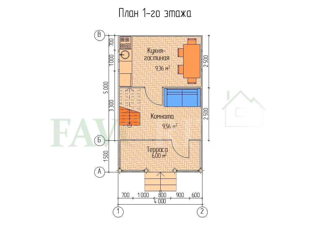 Планировка 1 этажа каркасного дома 4х5 с террасой 1,5х4
