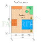 Планировка 2 этажа каркасного дома 4х5 с террасой 1,5х4