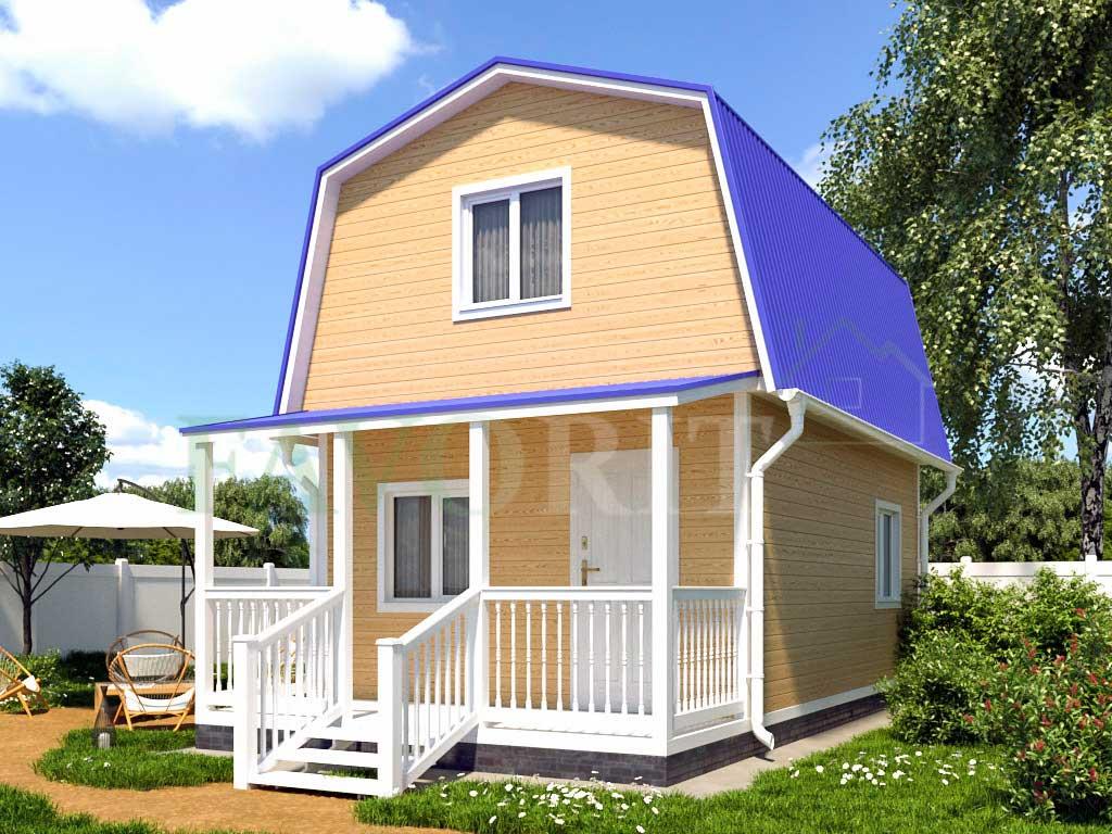 Каркасный дом 4х5 с террасой 1,5х4 – фото 1