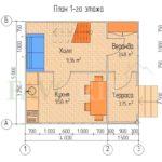 Планировка 1 этажа каркасного дома 4х5 с верандой 1,5х2,5