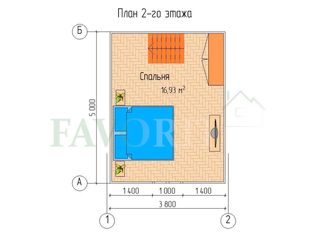 Планировка 2 этажа каркасного дома 4х5 с верандой 1,5х2,5