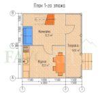 Планировка 1 этажа каркасного дома 4х6 с террасой 1,5х6