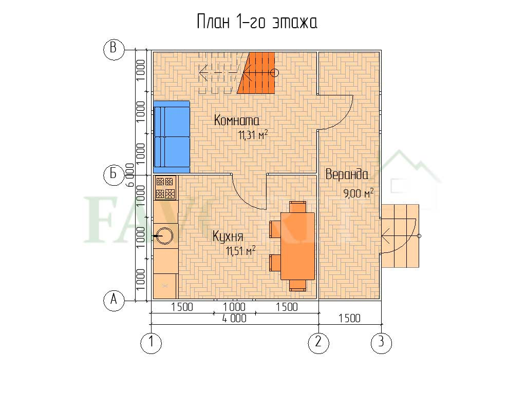 Планировка 1 этажа каркасного дома 4х6 с верандой 1,5х6