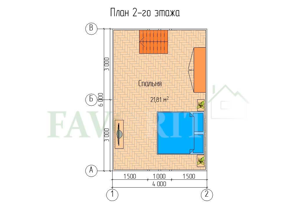 Планировка 2 этажа каркасного дома 4х6 с верандой 1,5х6