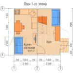 Планировка 1 этажа каркасного дома 5х5